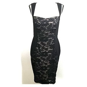 Aidan Mattox Black Lace Dress